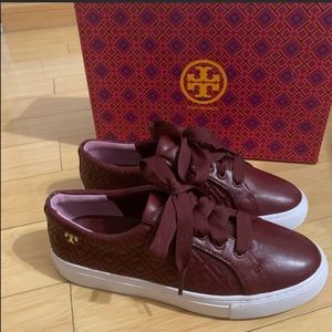 Tory Burch leather Maroon color quilted sneakers!